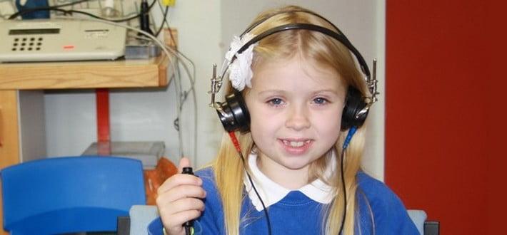 patient having hearing test