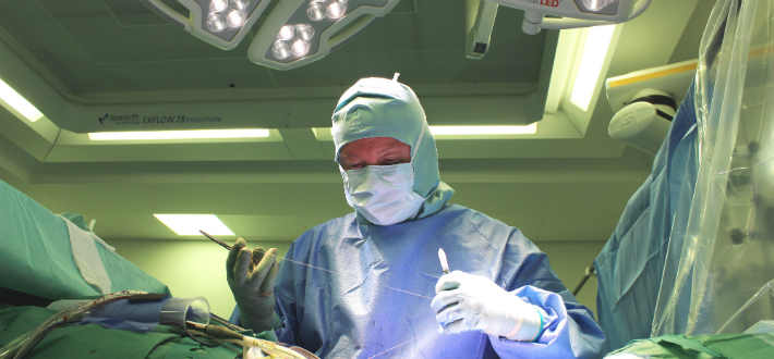 Surgeon perform operation in a theatre