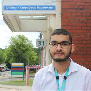 Adam Ramzan outside childrens outpatients department