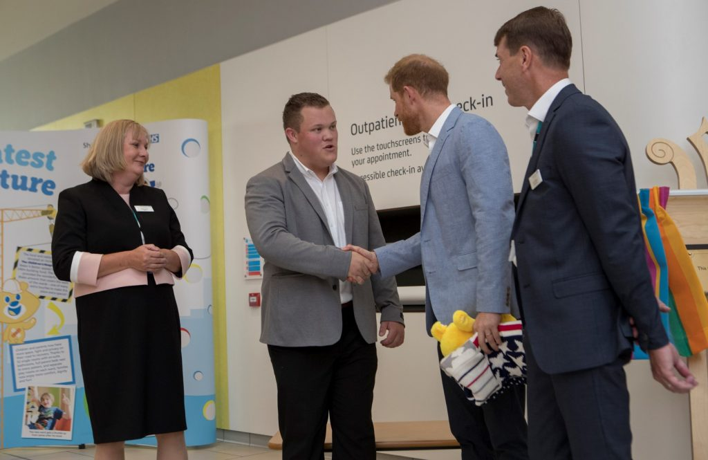 Prince Harry meets George Marriott, Co-Chair of the Youth Forum at Sheffield Childrens