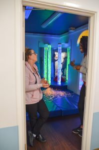 Ama and Bridget in sensory room at Becton Amber lodge