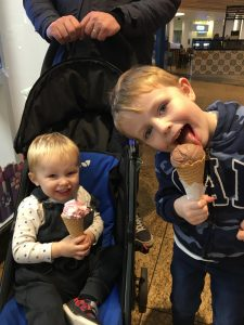 Eli and his brother tommy eating ice cream