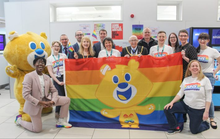 Sheffield Children's Rainbow badge team, Theo Bear and Rainbow flag