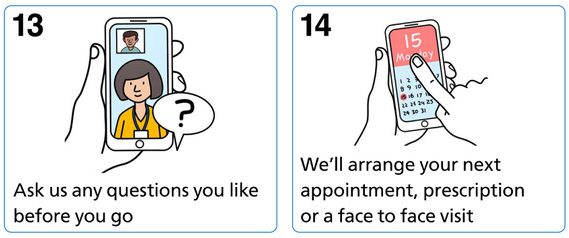 Ask us any questions you like before you go. We'll arrange your next appointment, prescription or face to face visit.