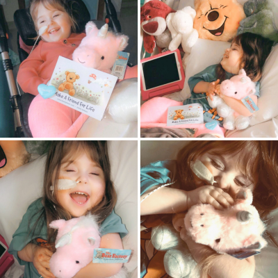 Patient Lily with cuddly bears