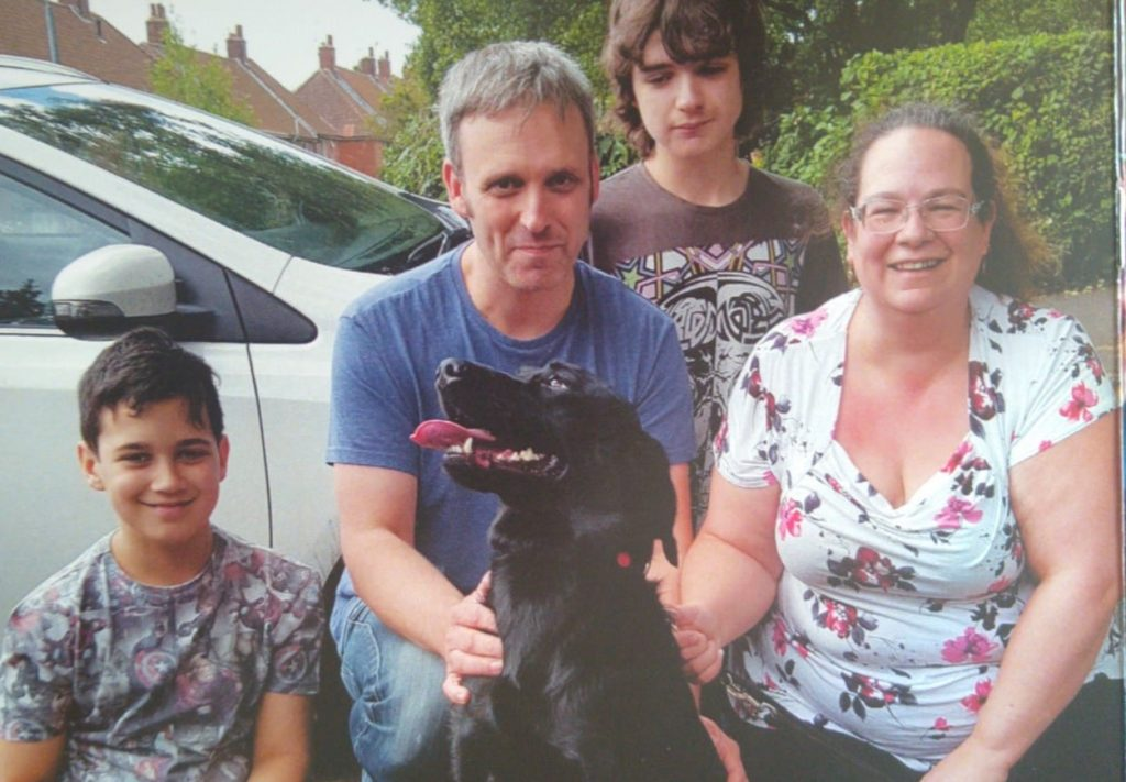 Nathan (left) his Dad Neil, brother Adam and mum Donna