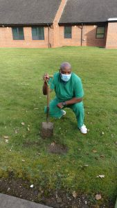 Staff planting trees at Becton Centre