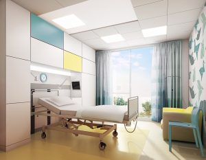 artist impression of new ward 6 bed space, colourful and bright with new bed